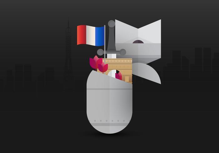 Fransk Armistice Day Illustration, med Frankrike Flagga, Europa. Krig och veteranillustration. Fransk flagga.