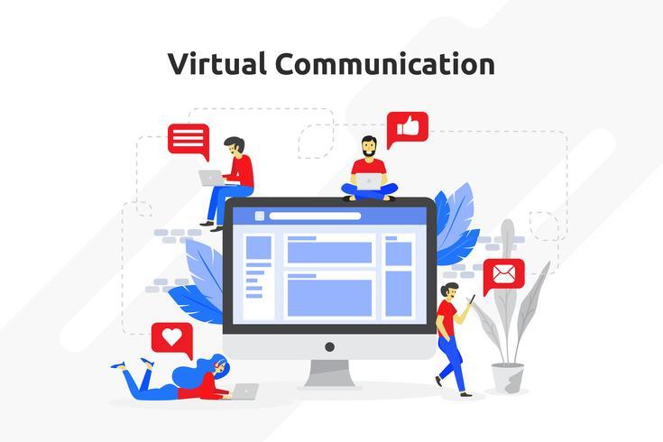 Virtual communication concept modern flat design. Vector illustr