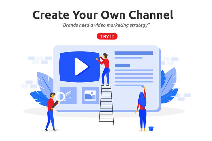 Skapa online videokanalkoncept modern platt design. Video ma