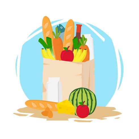 Grocery Shopping Bag Vector Illustration