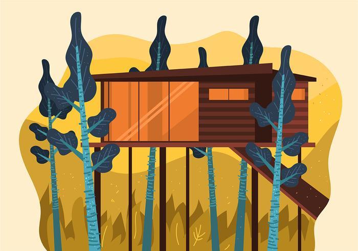 Cabina moderna en el bosque