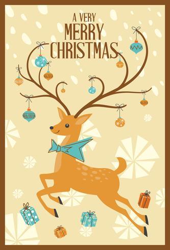 Abstrakt Merry Christmas Greeting Card Mid Century Mod Reindeer