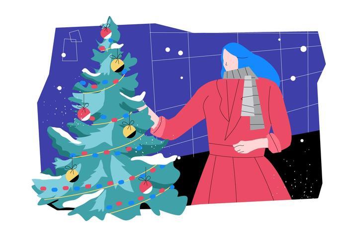 Femme, décorer, noël, arbres, plat, illustration