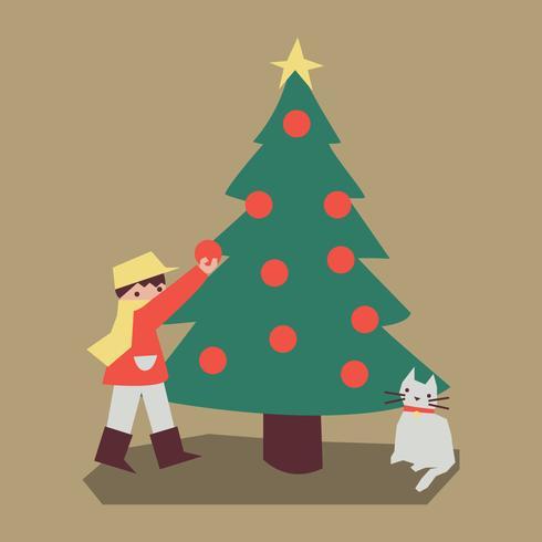 Muchacho colorido de la vendimia con un árbol de navidad