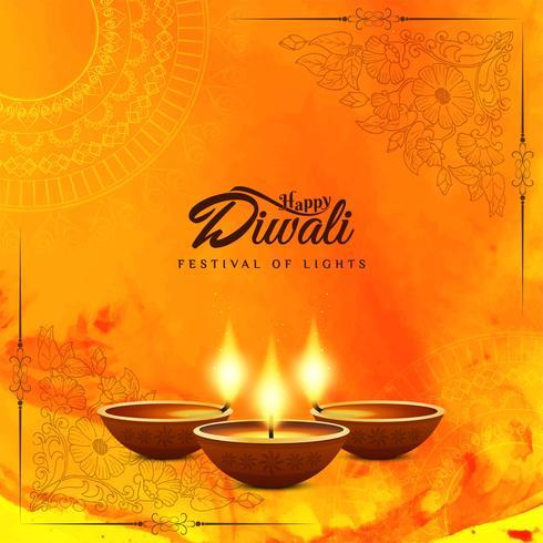 Abstrakt Glad Diwali akvarell bakgrund