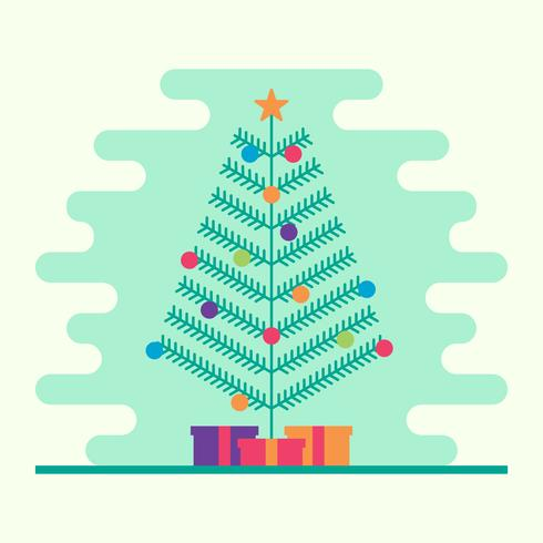 Arbre de Noël avec guirlande, cloches, cadeaux et une étoile sur l'illustration vectorielle haut