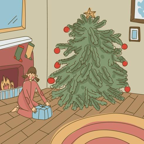Chica abriendo regalos