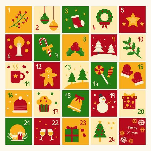 Calendario de adviento de navidad vector