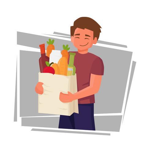 Unga Man Holding Shopping Bag Full Of Grocery Products Vektorillustration