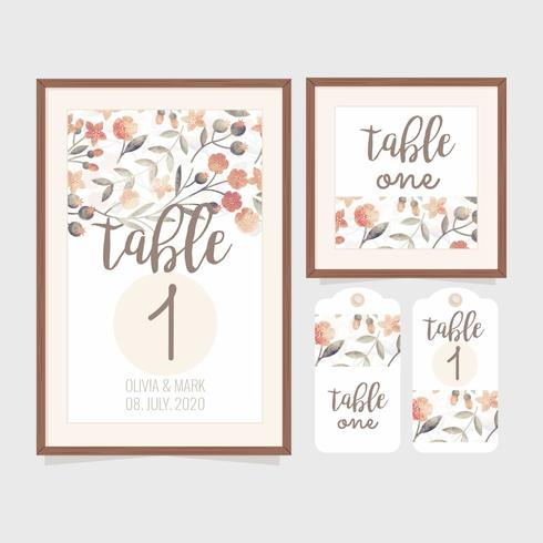 photo relating to Free Printable Wedding Table Number Templates titled Vector Marriage ceremony Desk Variety Template - Obtain Absolutely free Vectors