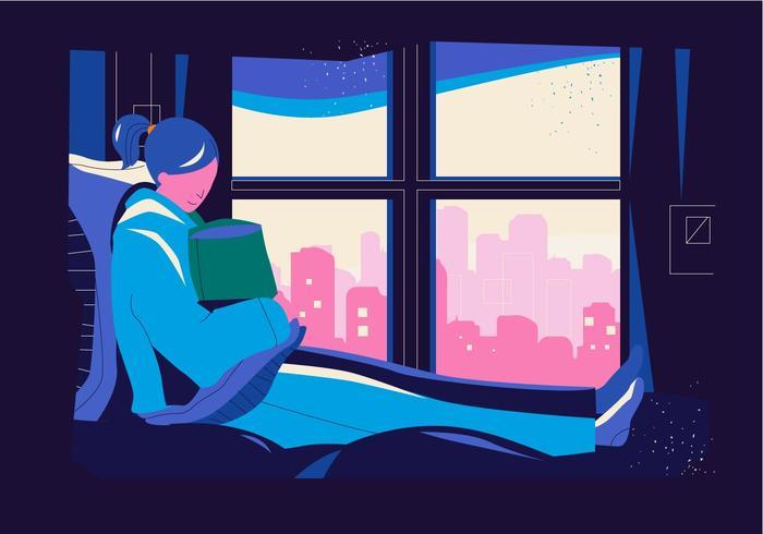 Mädchen-Schattenbild in der gemütlichen Schlafzimmer-Einstellungs-Vektor-flachen Illustration