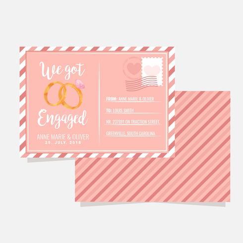 Vektor förlovningsmeddelande vykort