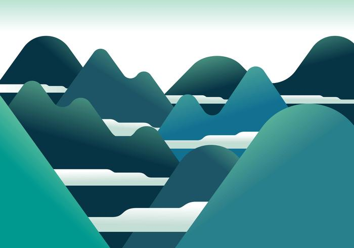 Mountain Landscape Första Person Vektor Illustration