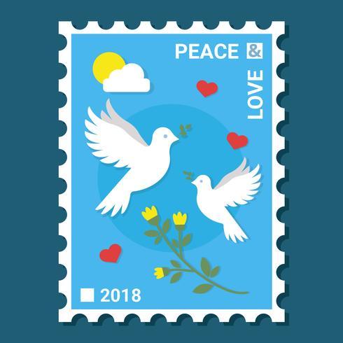 Vettore di francobolli di pace e amore