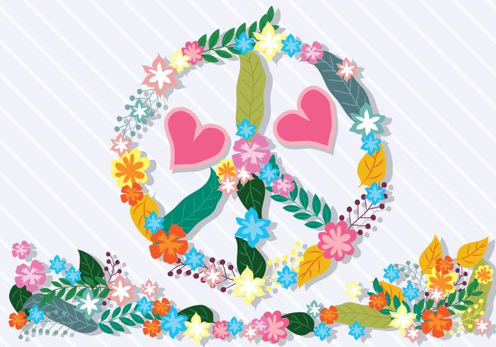 Ilustración de la paz y el amor