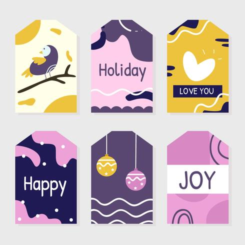 Vector de etiquetas de regalo de vacaciones de invierno