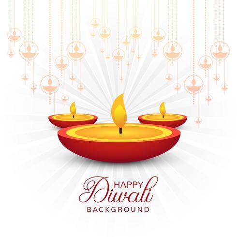 Vackert hälsningskort för festival glad diwali bakgrund vec