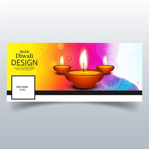 Schöne Happy Diwali Diya Öllampe Festival Facebook Cover des