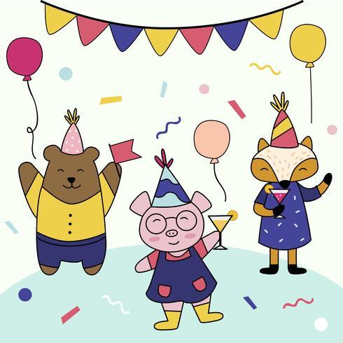 Geburtstagsfeier mit Tiercharakter-Vektor