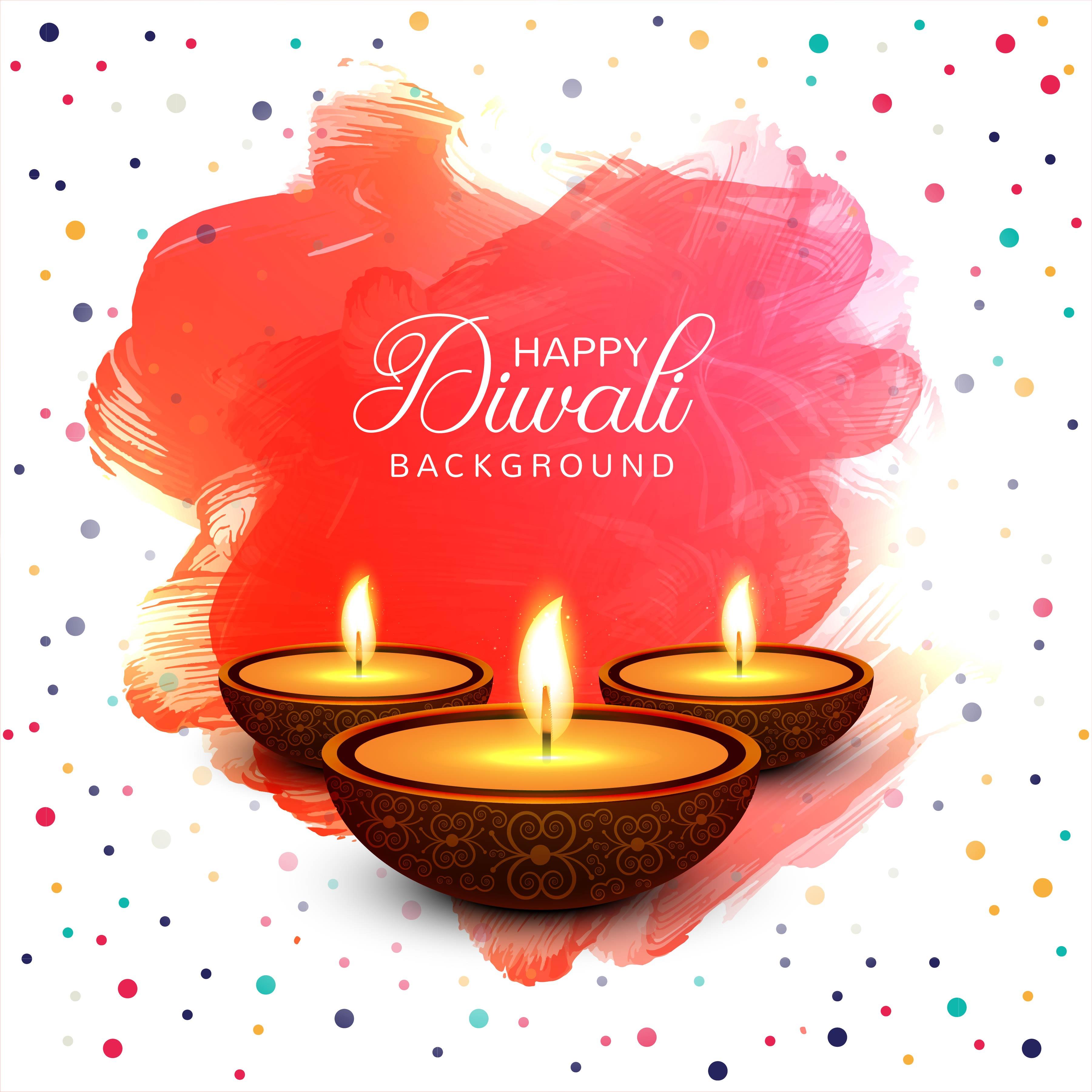 Happy Diwali Diya Oil Lamp Festival Colorful Card