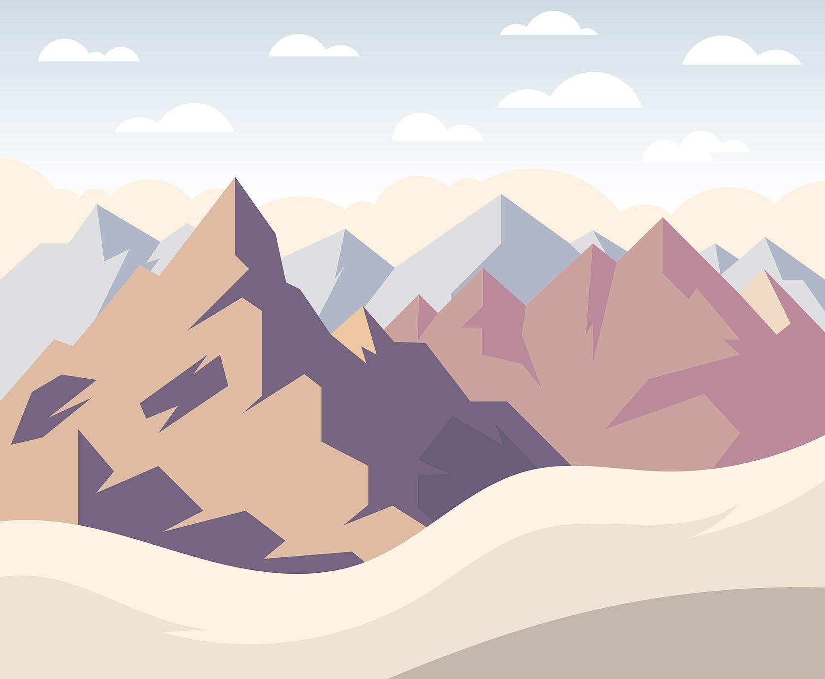 Landscape Illustration Vector Free: Mountain Landscape First Person Illustration