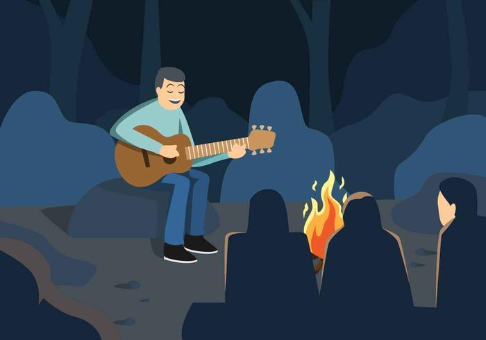 Musik runt Campfire Vector Illustration