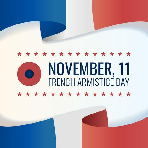 Abstract Waving France Flag On Light Background Celebrating Armistice Day