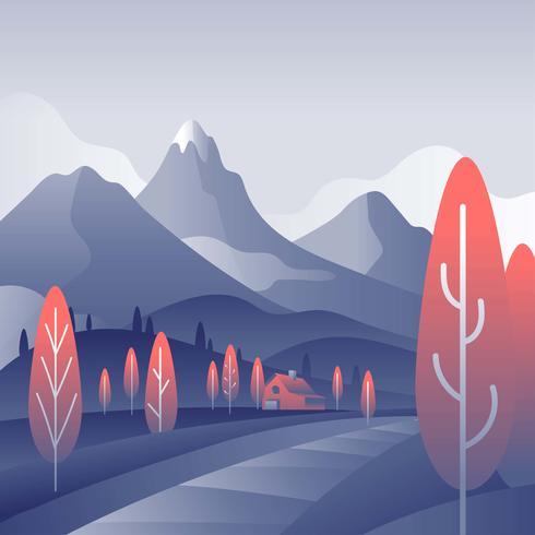 Mountain Landscape Första Person Vector