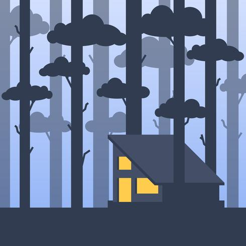 Modern Warm Cabin In A Middle Of A Tall Forest Trees Illustration