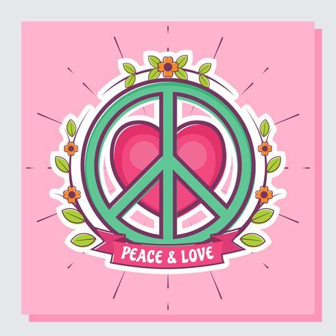 Vrede en liefde vectorillustratie