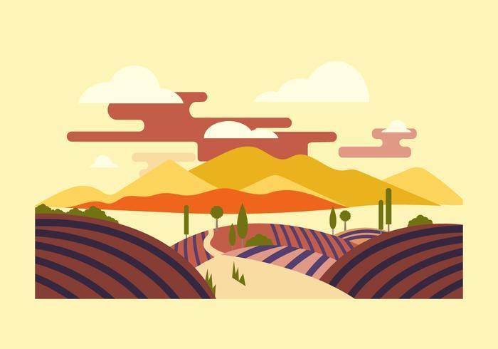 Vineyard Landscape Flat Vector