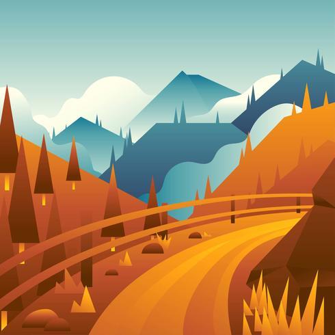 Mountain Path Landscape Vector