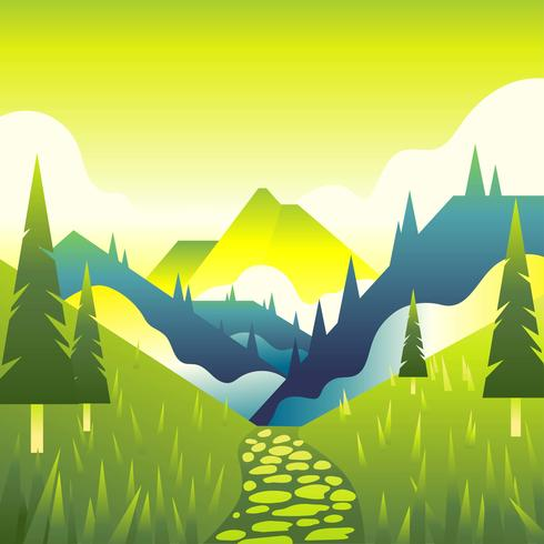 Mountain Path Landscape First Person View Vecto vector