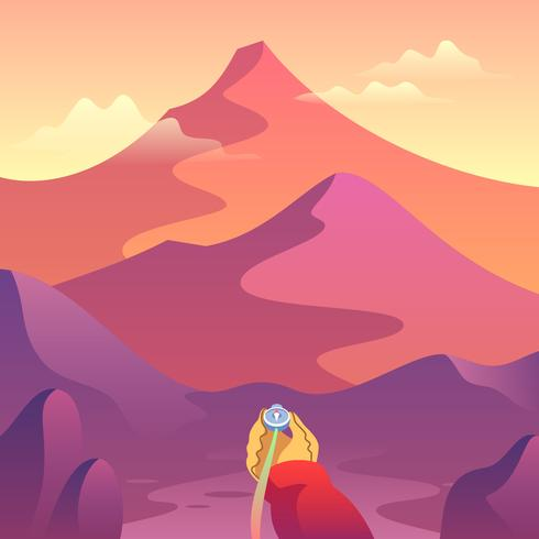 Looking For Directions Mountain Landscape First Person Vector