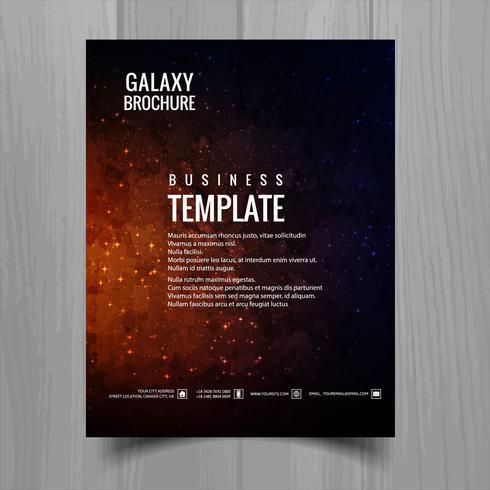Galaxy universo folleto plantilla diseño vector