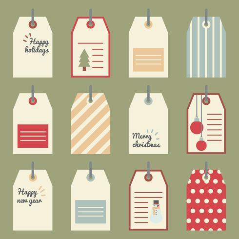 Etiquetas coloridas del regalo de Navidad