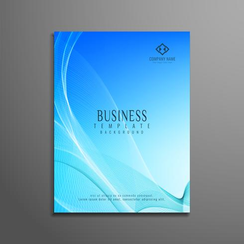 Abstract blue wavy business flyer template design vector