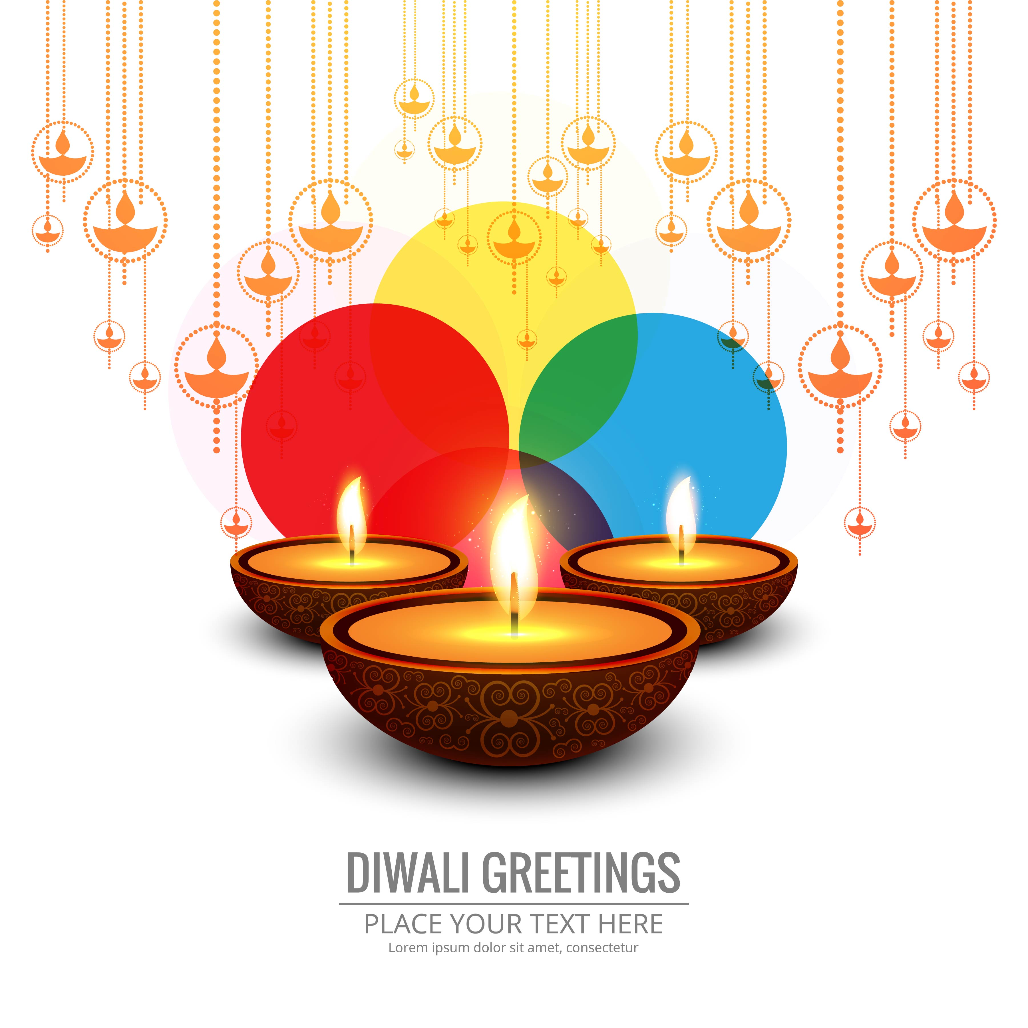 beautiful greeting card for festival happy diwali