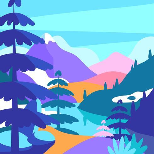 Berglandschap Pop Color Vector