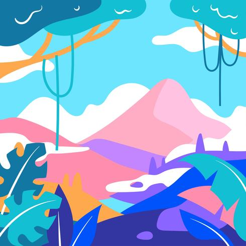 Paysage de montagne pop style vecteur
