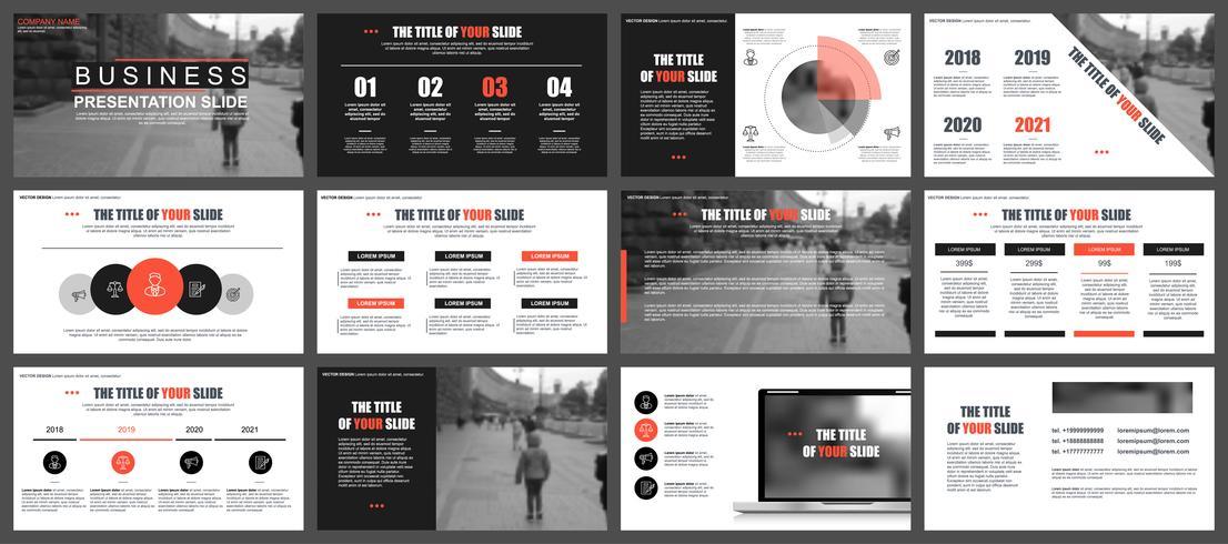 Modèles de diapositives de présentation d'entreprise à partir d'éléments infographiques. Peut être utilisé pour la présentation, le dépliant et le dépliant, la brochure, le rapport de l'entreprise, le marketing, la publicité, le rapport annuel, la