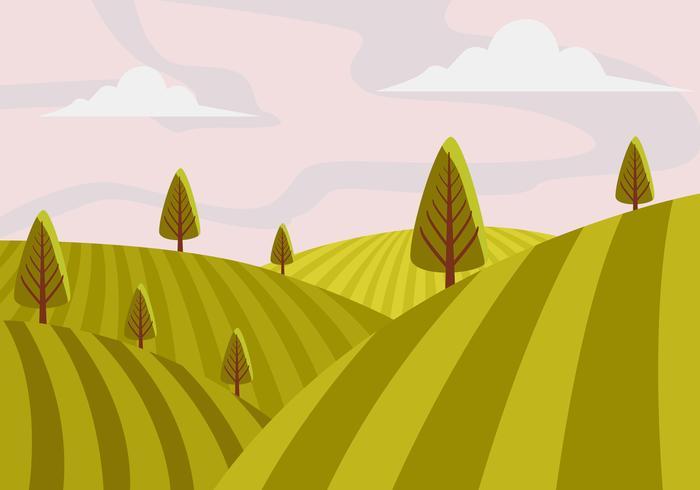 Illustration vectorielle de paysage de vignoble à la première personne