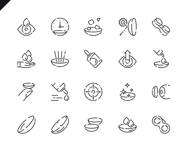 Simple Set Eye Lens Line Icons for Website and Mobile Apps.