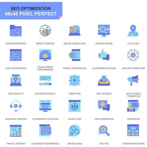 Eenvoudige Set Seo en Ontwikkeling Vlakke Pictogrammen voor Website en Mobiele Apps