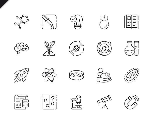 Conjunto simple de iconos de línea de ciencia para sitio web y aplicaciones móviles. vector