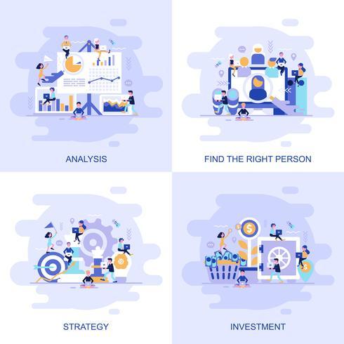 Banner de web de concepto plano moderno de inversión, estrategia, análisis y encontrar a la persona adecuada con el carácter de personas pequeñas decoradas. vector
