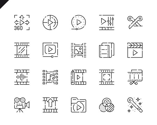 Simple Set Video Editing Line Icons for Website and Mobile Apps