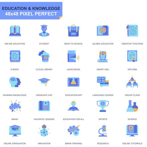 Simple Set Education and Knowledge Flat Icons for Website and Mobile Apps vector