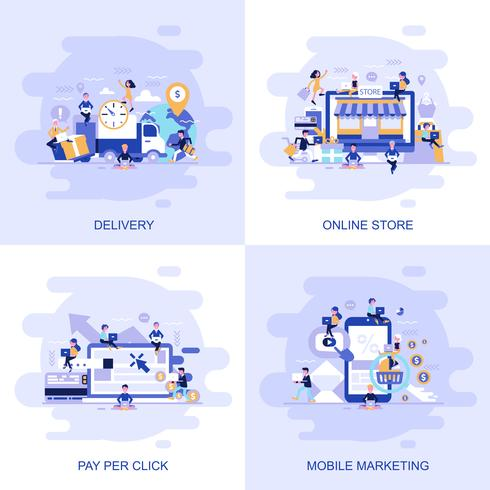 Modernt platt begreppswebbanner av Online Store, Pay Per Click, mobilmarknadsföring och leverans med inredda småpersoners karaktär.