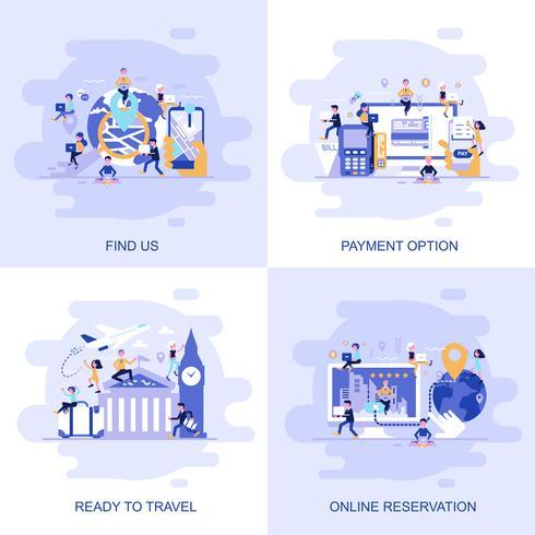 Moderne flache Konzeptnetzfahne von Finden Sie uns, on-line-Reservierung, Zahlungs-Option und bereiten Sie vor, mit verziertem kleinem Leutecharakter zu reisen.